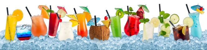 Various beverages in crushed ice stock image