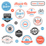Various bicycle labels and emblems. Set of vintage and modern bicycle shop badges and labels Stock Photos