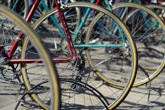 Various bicycle wheels closeup Royalty Free Stock Photo