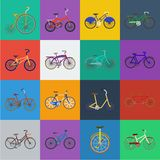 Various bicycles cartoon icons in set collection for design. The type of transport vector symbol stock web illustration. vector illustration