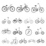 Various bicycles monochrome icons in set collection for design. The type of transport vector symbol stock web. Various bicycles monochrome icons in set Royalty Free Stock Photos