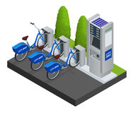 Various bicycles on a rack, available for rent. Isometric Citi Bikes. Flat 3d vector isometric illustration Various bicycles on a rack, available for rent Stock Image