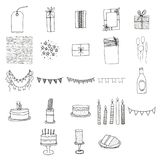 Various birthday celebration icons Royalty Free Stock Images