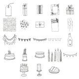 Various birthday celebration icons. Vector set of various birthday celebration icons stock illustration