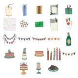 Various birthday celebration icons. Vector set of various birthday celebration icons vector illustration