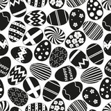 Various black Easter eggs design seamless pattern Royalty Free Stock Images