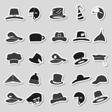 Various black and gray hats stickers vector set Royalty Free Stock Images