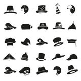 Various black hats icons vector set Royalty Free Stock Image