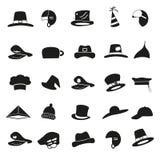 Various black hats icons vector set Royalty Free Stock Image