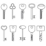 Various black outline keys symbols for open a lock. Eps10 Stock Image