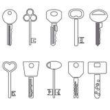 Various black outline keys symbols for open a lock Stock Image