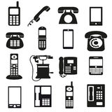 Various black phone symbols and icons set Stock Photography
