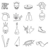 Various black punk outline icons set eps10 Royalty Free Stock Photography