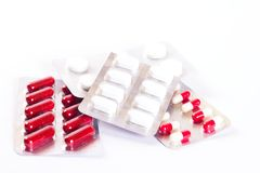Various blisters of pills and tablets royalty free stock photos