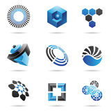 Various blue abstract icons, Set 4. Various blue abstract icons isolated on a white background Stock Photography