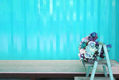 Various of blue flowers with modern background.Minimalist Stock Photos