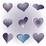 Various blue hearts Royalty Free Stock Image