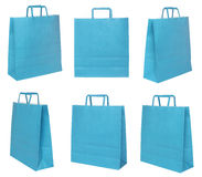 Various blue shopping bags Stock Images