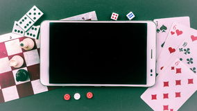 Various board games with tablet pc. stock footage