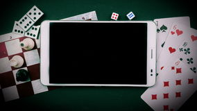 Various board games with tablet pc. stock video