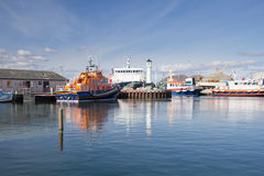 Various boats docked in Kirkwall Harbour. Boats docked in Kirkwall Harbour, Orkney, Scotland Stock Photos