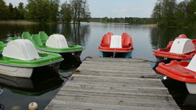 Various boats on  lake stock video