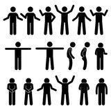 Various Body Gestures Hand Signals Human Man People Stick Figure Stickman Pictogram Icons. Stickman person posing in various standing postures Royalty Free Stock Photo