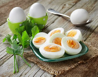 Various boiled eggs Royalty Free Stock Photos