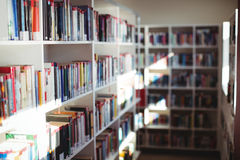 Various books arranged in bookshelf in library. At school royalty free stock photography