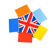 Various books on UK flag. Learn English. Royalty Free Stock Photo