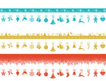 Various borders with hanging Christmas ornaments stock illustration