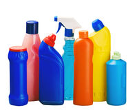 Various bottles with cleaning supplies Royalty Free Stock Images