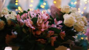 Various bouquets of flowers stock footage