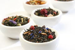 Various Bowls Of Premiun Tea Leaves Blends Stock Photos