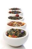 Various Bowls Of Premiun Tea Leaves Blends Stock Photo