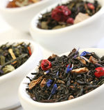 Various bowls of premiun tea leaves blends Royalty Free Stock Image