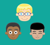 Various Boy Faces Vector Illustration Stock Image