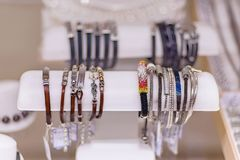 Various bracelets in a jewelry shop royalty free stock photo