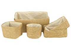 Various braided bamboo baskets on white Stock Photography