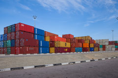 Various brands and colors of shipping containers Royalty Free Stock Photos