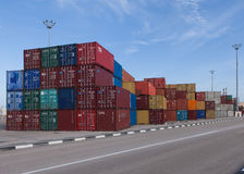 Various brands and colors of shipping containers Royalty Free Stock Image