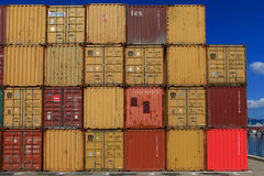 Various brands and colors of shipping containers Stock Images