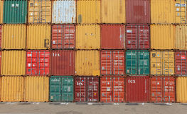 Various brands and colors of shipping containers Stock Photo