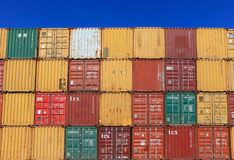 Various brands and colors of shipping containers Royalty Free Stock Images
