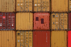 Various brands and colors of shipping containers Royalty Free Stock Photography