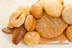 Various bread on the baking board Royalty Free Stock Image