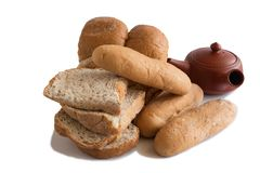 Various of Bread, french baguette. Isolated on white background Royalty Free Stock Photo