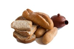 Various of Bread, french baguette. Isolated on white background Stock Image