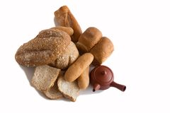 Various of Bread, french baguette. Isolated on white background Stock Photos