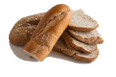 Various of Bread, french baguette. Isolated on white background Royalty Free Stock Images